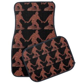 Z Bigfoot Walking Sasquatch Pattern On Black Car Mat