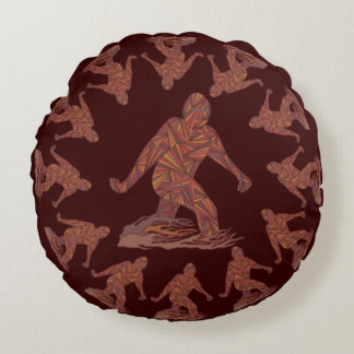 Z Bigfoot Walking Sasquatch Round Pattern Round Pillow