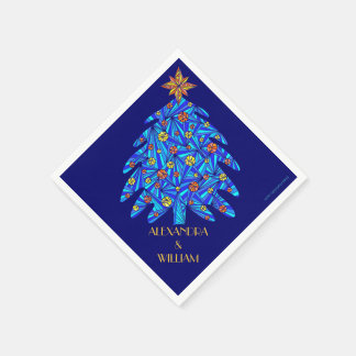 Z Blue Abstract Holiday Tree Personalized Napkins