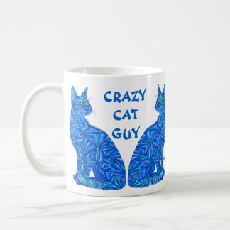 Z Blue Abstract Sitting Cat Crazy Cat Guy Coffee Mug