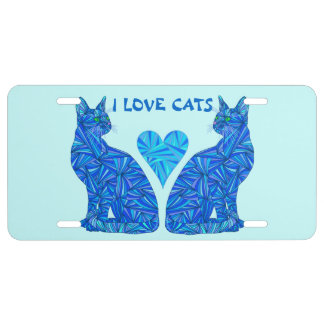 Z Blue Abstract Sitting Cat I Love Cats Cat Lover License Plate