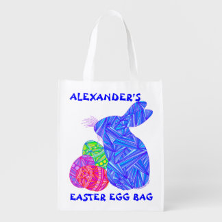 Z Blue Bunny Personalized Reusable Easter Egg Bag