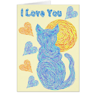 Z Blue Cat And The Moon Cat Lover Anniversary Card