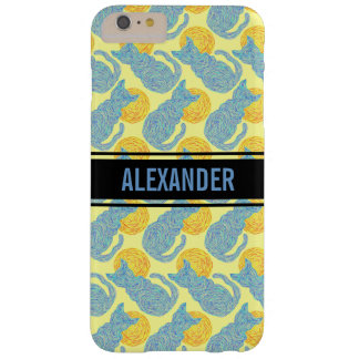 Z Blue Cat And The Moon Cat Lover Pattern Barely There iPhone 6 Plus Case