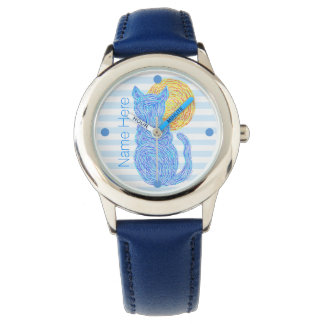 Z Blue Cat And The Moon Cat Lover Personalized Wristwatch
