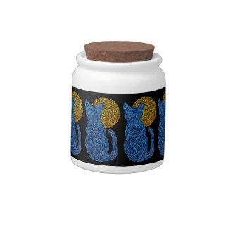 Z Blue Cat Moon Abstract Art Zen Snack Treats Jar Candy Dish