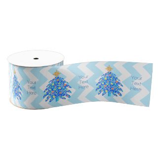 Z Blue Christmas Tree Colorful Holiday Chevron Grosgrain Ribbon