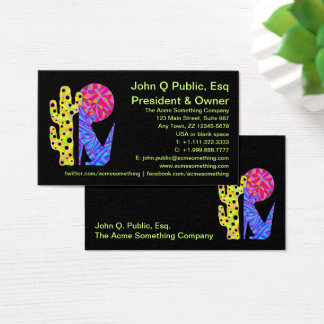 z Blue Coyote Southwestern Style Colorful Business Card