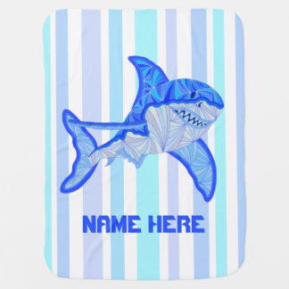 Z Blue Great White Shark Colorful Sea Stripes Baby Blanket