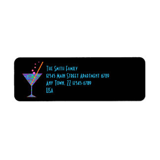 Z Blue Happy Hour Colorful Cocktail Martini Label