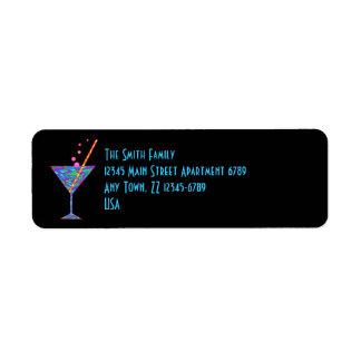 Z Blue Happy Hour Colorful Cocktail Martini Return Address Label