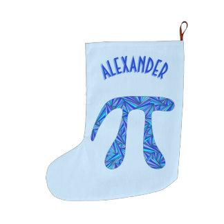 Z Blue Pi Symbol Math Geek Fun Holiday Add A Name Large Christmas Stocking