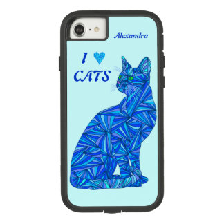 z Blue Sitting Cat ifonx78 Personalize This Cute Case-Mate Tough Extreme iPhone 8/7 Case