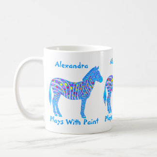 Z Blue Zebra Colorful Plays With Paint Coffee Mug