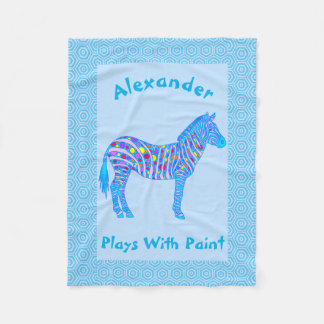 Z Blue Zebra Colorful Plays With Paint Fleece Blanket