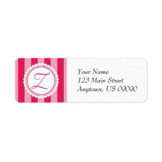 Z Candy Striper Monogram Address Labels Raspberry