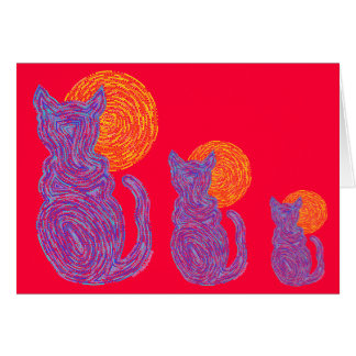 Z Cat And The Moon Blue Art Blank Note Card