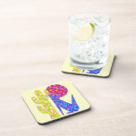 Z Colorful Abstract Art Blue Coyote Wolf Party Drink Coaster