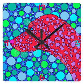 z Colorful Dalmatian Polka Dot Dog Art Decor Clock