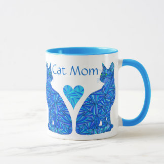 Z Custom Cat Mom Abstract Sitting Cats Cup
