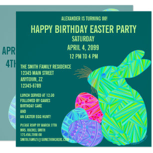 Happy birthday bunny easter gifts on zazzle z cute green bunny fun easter theme birthday invitation negle Image collections
