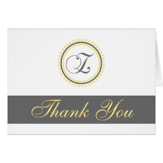 Z Dot Circle Monogam Thank You Cards (Yellow/Gray)