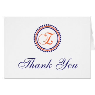 Z Dot Circle Monogam Thank You (Orange/Navy Blue) Card