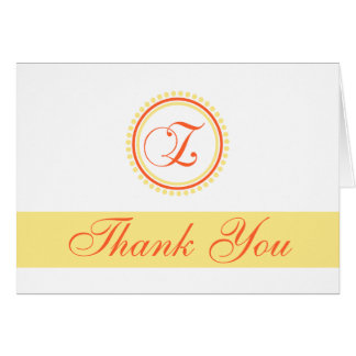 Z Dot Circle Monogam Thank You (Orange / Yellow) Card