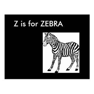 """""""Z"""" está para el alfabeto Flashcard de la cebra Postal"""