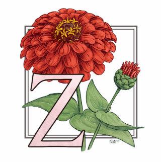 Z está para el monograma de la flor de los Zinnias Fotoescultura Vertical