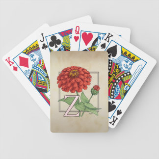 Z for Zinnia Flower Monogram Floral Art Bicycle Playing Cards