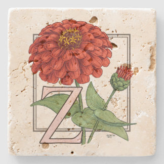 Z for Zinnia Flower Monogram Floral Art Stone Coaster