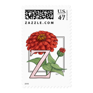 Z for Zinnias Flower Monogram Postage