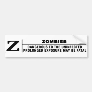 Z FOR ZOMBIES CAR BUMPER STICKER