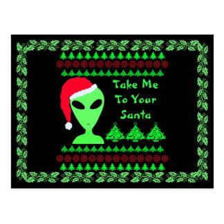 Z Fun Alien Santa Geek Humor LGM Unique Holiday Postcard