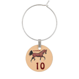 Z Fun Bay Horse Personalized Numbered Trinkets Wine Glass Charm