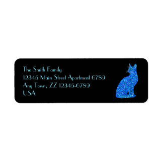 Z Fun Blue Abstract Sitting Cat Art Address Labels