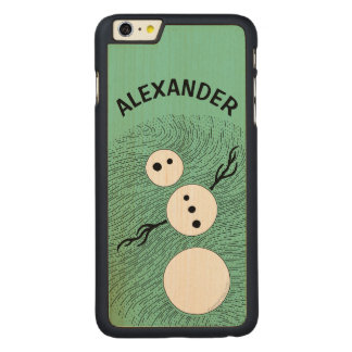 Z Fun Cartoon Snowman Winter Christmas Holiday Carved Maple iPhone 6 Plus Case