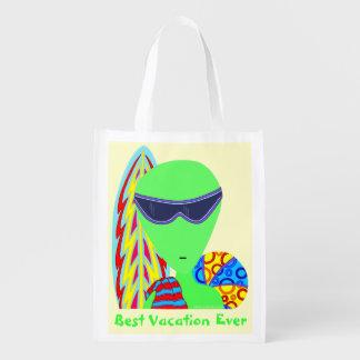 z Fun LGM Alien Best Vacation Ever Geek Reusable Grocery Bag