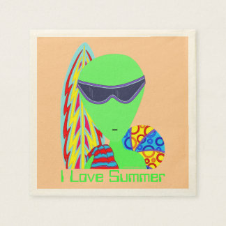 Z Fun LGM Alien Vacation I Love Summer Party Napkin