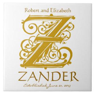 Z Gold Monogram on White - Names Wedding Date Tile