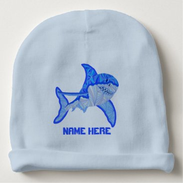 Beach Themed Z Great White Shark Colorful Sea Animal Baby Beanie