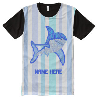 Z Great White Shark Colorful Sea Stripes All-Over-Print T-Shirt
