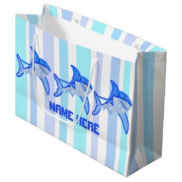 Beach Themed Z Great White Shark Colorful Sea Stripes Large Gift Bag