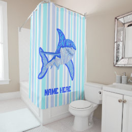 Z Great White Shark Colorful Sea Stripes Shower Curtain