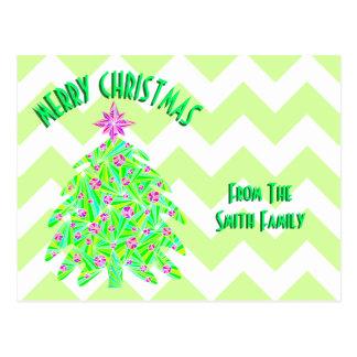 Z Green Christmas Tree Colorful Holiday Chevron Postcard