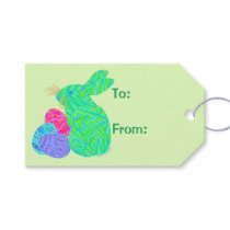 Z Green Easter Bunny Easter Eggs Colorful Rabbit Gift Tags