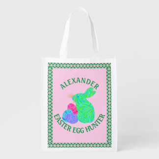 Z Green Easter Bunny Easter Eggs Colorful Rabbit Grocery Bag