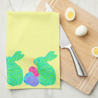 Z Green Easter Bunny Holiday Party Kitchen Towel