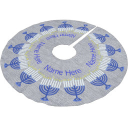 Z Hanukkah Dark Blue Menorah Fun Chrismukkah Brushed Polyester Tree Skirt